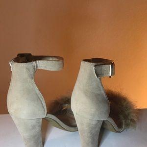 Beige fur heels